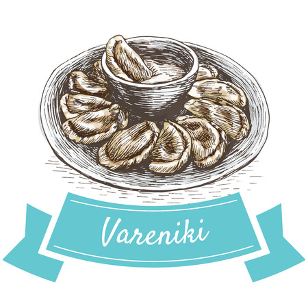 russian cuisine: Vareniki colorful illustration. Vector illustration of Russian cuisine.