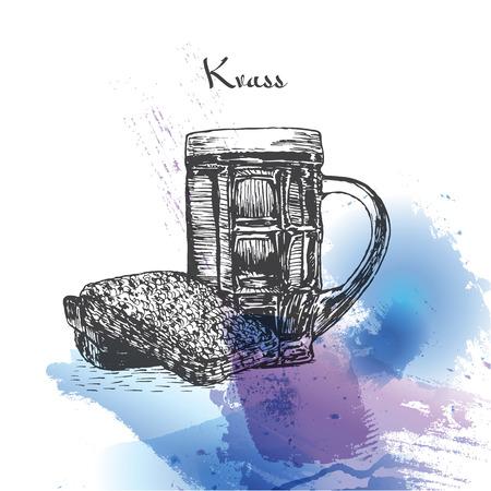 Kvass watercolor effect illustration. Vector illustration of Russian cuisine. Illustration