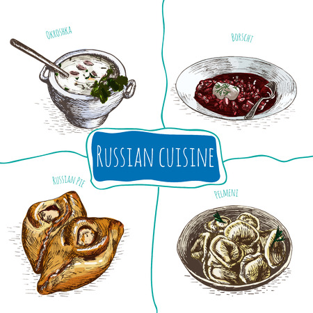 Menu of Russia colorful illustration. Vector illustration of Russian cuisine.
