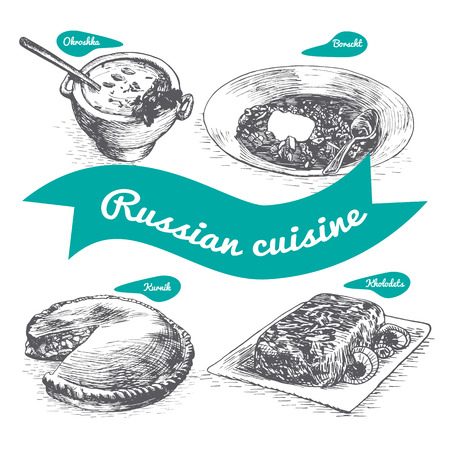 borscht: Monochrome vector illustration of Russian cuisine and cooking traditions