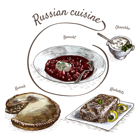 borscht: Menu of Russia colorful illustration. Vector illustration of Russian cuisine.