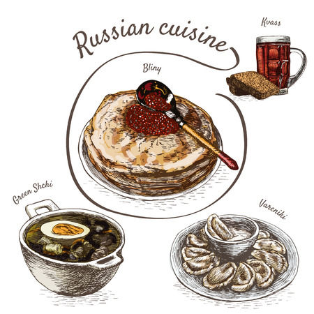 russian cuisine: Menu of Russia colorful illustration. Vector illustration of Russian cuisine.