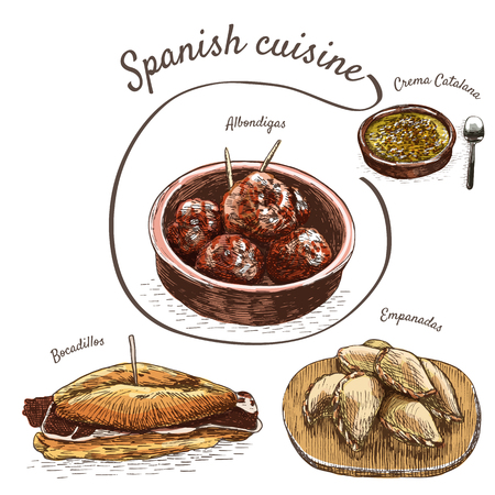 puff pastry: Menu of Spain colorful illustration. Vector illustration of Spanish cuisine. Illustration