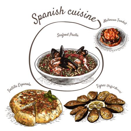 Menu of Spain colorful illustration. Vector illustration of Spanish cuisine. Illustration
