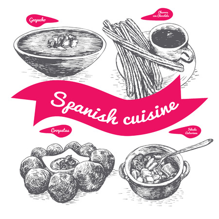 Menu of Spain monochrome illustration. Vector illustration of Spanish cuisine.
