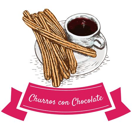 Churros con chocolate kleurrijke illustratie. Vector illustratie van de Spaanse keuken. Stock Illustratie