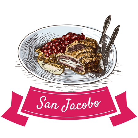 San Jacobo colorful illustration. Vector illustration of Spanish cuisine.
