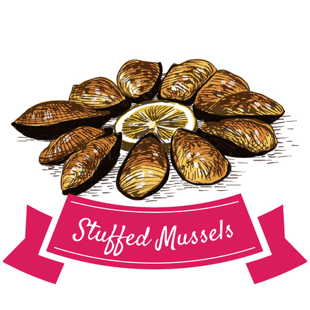 Tigres Stuffed Mussels colorful illustration. Vector illustration of Spanish cuisine. Illustration