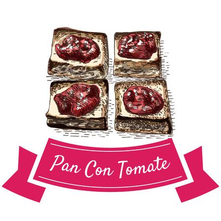 Pan con tomate colorful illustration. Vector illustration of Spanish cuisine. Ilustração