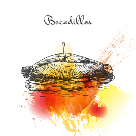 catalonia: Bocadillos colorful watercolor effect illustration. Vector illustration of Spanish cuisine.