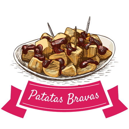 Patatas bravas colorful illustration. Vector illustration of Spanish cuisine.  イラスト・ベクター素材