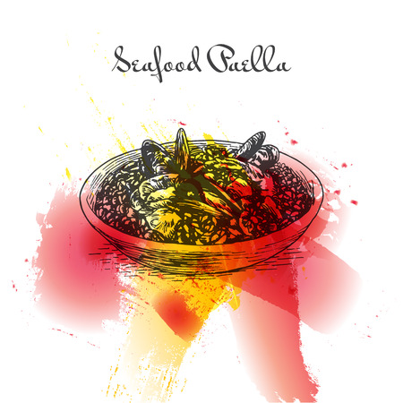 Seafood paella colorful watercolor effect illustration. Vector illustration of Spanish cuisine.