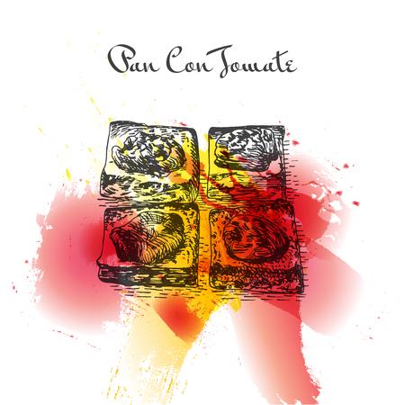 Pan con tomate colorful watercolor effect illustration. Vector illustration of Spanish cuisine. Ilustração