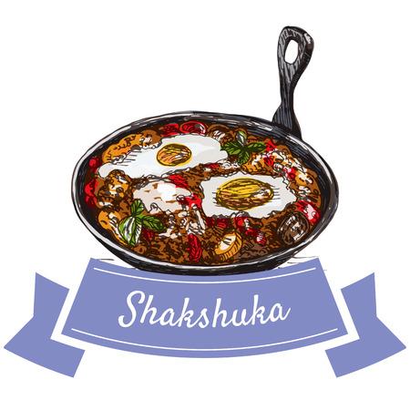 Shaksuka colorful illustration. Vector illustration of israeli cuisine.
