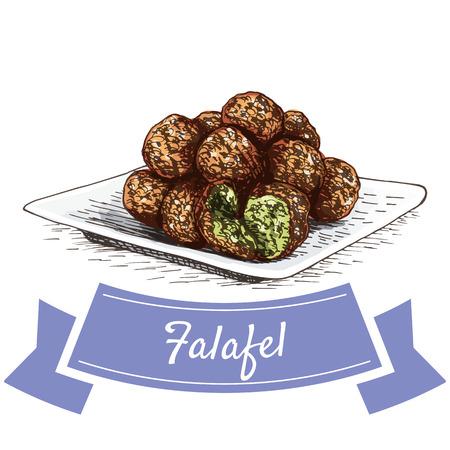 mediterranean diet: Falafel colorful illustration. Vector illustration of israeli cuisine.