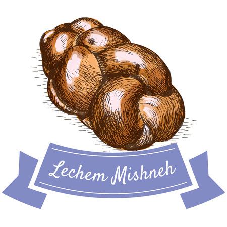 observance: Lechem Mishneh colorful illustration. Vector illustration of israeli cuisine.