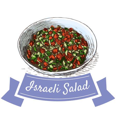 israeli: Israeli Salad colorful illustration. Vector illustration of israeli cuisine. Illustration