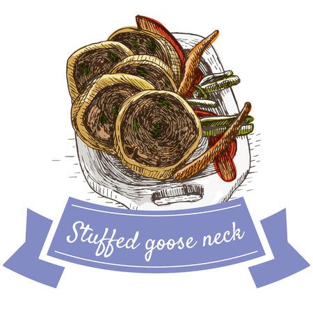 Stuffed goose or chicken neck colorful illustration. Vector illustration of israeli cuisine. Illustration