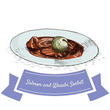 sherbet: Salmon and Wasabi Sorbet colorful illustration. Vector illustration of israeli cuisine.