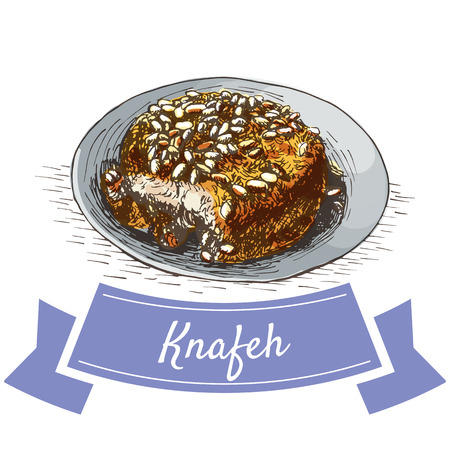 middle eastern food: Knafen colorful illustration. Vector illustration of israeli cuisine.