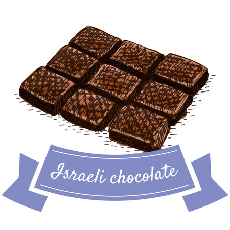 israeli: Israeli chocolate colorful illustration. Vector illustration of israeli cuisine. Illustration