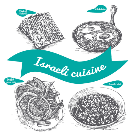 jewish cuisine: Monochrome vector illustration of israeli cuisine and cooking traditions