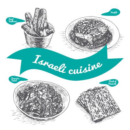 vecteur Monochrome illustration de la cuisine israelienne et traditions culinaires