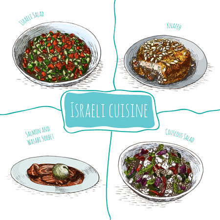 appetizers: Menu of Israel colorful illustration. Vector illustration of israeli cuisine.