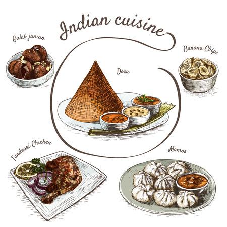 Menu of Indian colorful illustration. Vector illustration of indian cuisine.