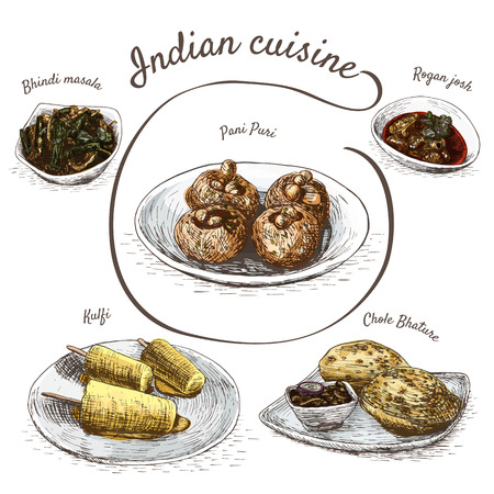 pani: Menu of Indian colorful illustration. Vector illustration of indian cuisine.