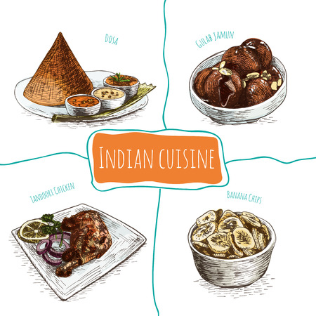 chutney: Menu of Indian colorful illustration. Vector illustration of indian cuisine.