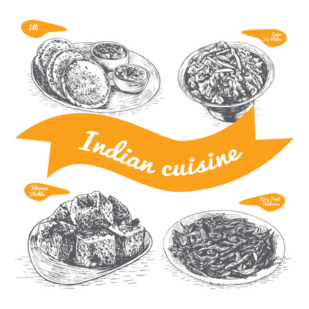 Monochrome vector illustration of Indian cuisine and cooking traditions