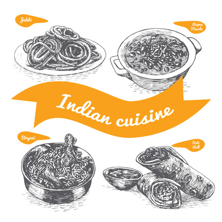 Monochrome vector illustration of Indian cuisine and cooking traditions Stock Vector - 67129276