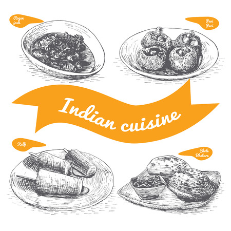 pani: Monochrome vector illustration of Indian cuisine and cooking traditions