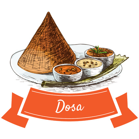 Dosa colorful illustration. Vector illustration of Indian cuisine.