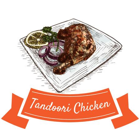 Tandoori Chicken colorful illustration. Vector illustration of Indian cuisine. Illustration