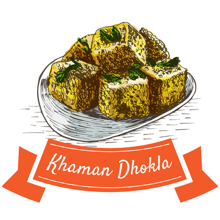 chutney: Khaman Dhokla colorful illustration. Vector illustration of Indian cuisine.