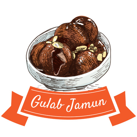 Gulab Jamun colorful illustration. Vector illustration of Indian cuisine.