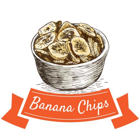Banana chips colorful illustration. Vector illustration of Indian cuisine. Illustration
