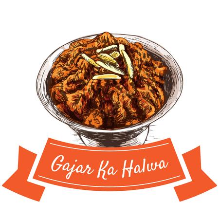 Gajar Ka Halva colorful illustration. Vector illustration of Indian cuisine.