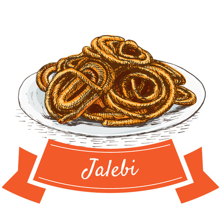 middle eastern food: Jalebi colorful illustration. Vector illustration of Indian cuisine. Illustration