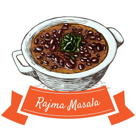 Rajma Masala colorful illustration. Vector illustration of Indian cuisine. 矢量图像
