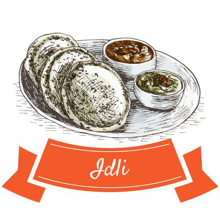 Idli 다채로운 그림입니다. 인도 요리의 벡터 일러스트 레이 션. 스톡 콘텐츠 - 67129298