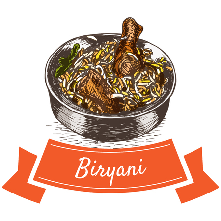 Biryani colorful illustration. Vector illustration of Indian cuisine.
