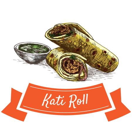 egg roll: Kati Roll colorful illustration. Vector illustration of Indian cuisine. Illustration