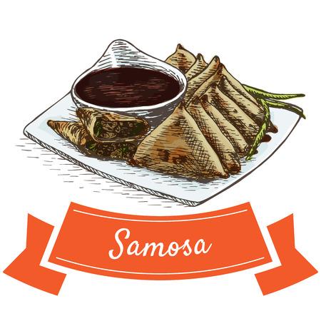 Samosa colorful illustration. Vector illustration of Indian cuisine.