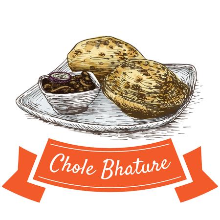 胆汁 Bhature カラフルなイラスト。インド料理のベクター イラストです。