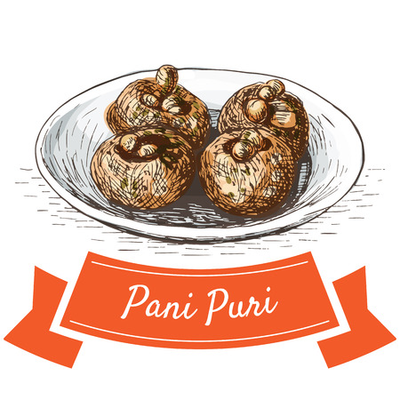 chutney: Pani Puri colorful illustration. Vector illustration of Indian cuisine.