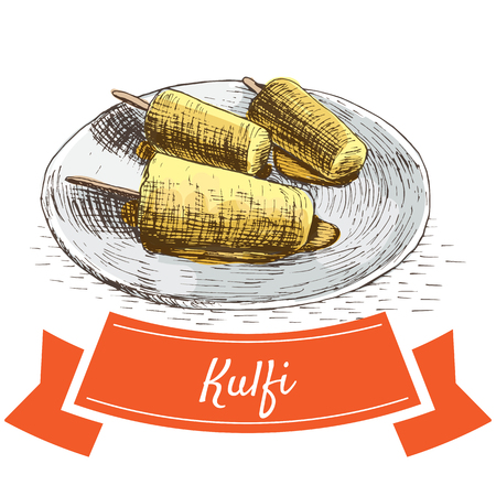 Kulfi colorful illustration. Vector illustration of Indian cuisine.
