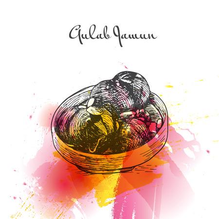 Gulab Jamun watercolor effect illustration. Vector illustration of Indian cuisine.
